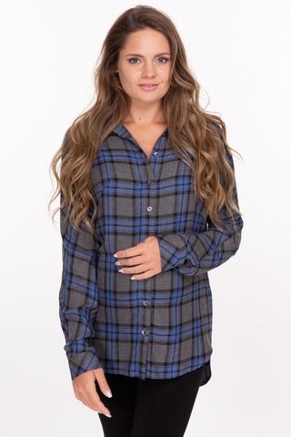 Рубашка для беременных 10870 серый/синий