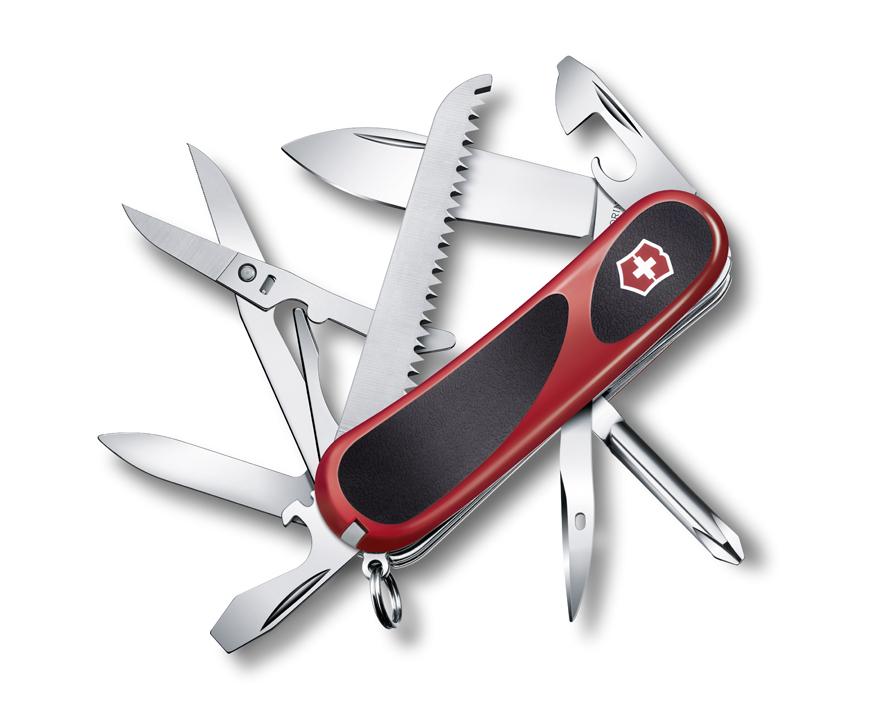 Нож Victorinox EvoGrip 18, 85 мм, 15 функций, красный с черным