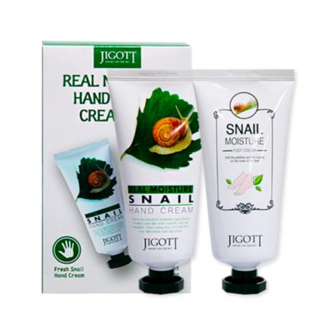 Jigott Real Moisture Hand & Foot Cream Set набор кремов для рук и ног с экстрактом слизи улитки