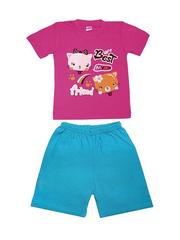 DL11-73-18-27 Комплект детский, тем.розовый (футболка+шорты)
