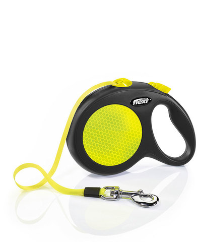 Flexi поводок-рулетка Neon New Classic S (до 15 кг) лента 5м (лимонный)