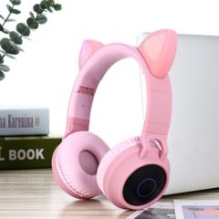 Наушники беспроводные Smilezoom с ушками / Розовые
