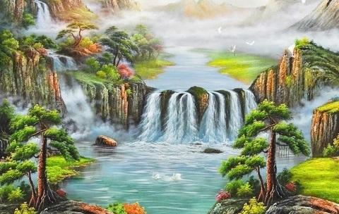 Алмазная Мозаика 40x50 Покрытый туманом водопад (арт. S2045)
