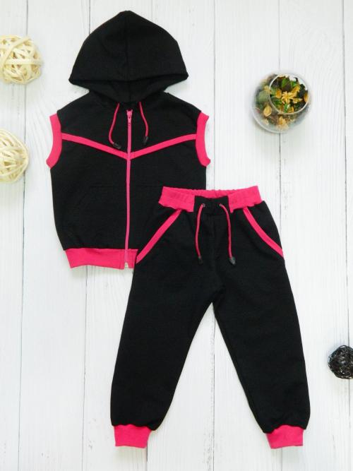 Костюм 3094, черно-розовый