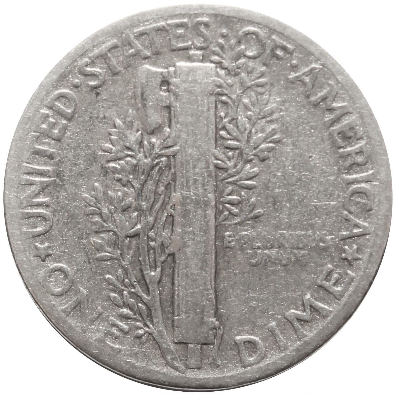 1 дайм (10 центов) 1944. США F-VF (Меркурий) Серебро