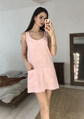 Ирэн. Легкое льняное женское платье. Розовый