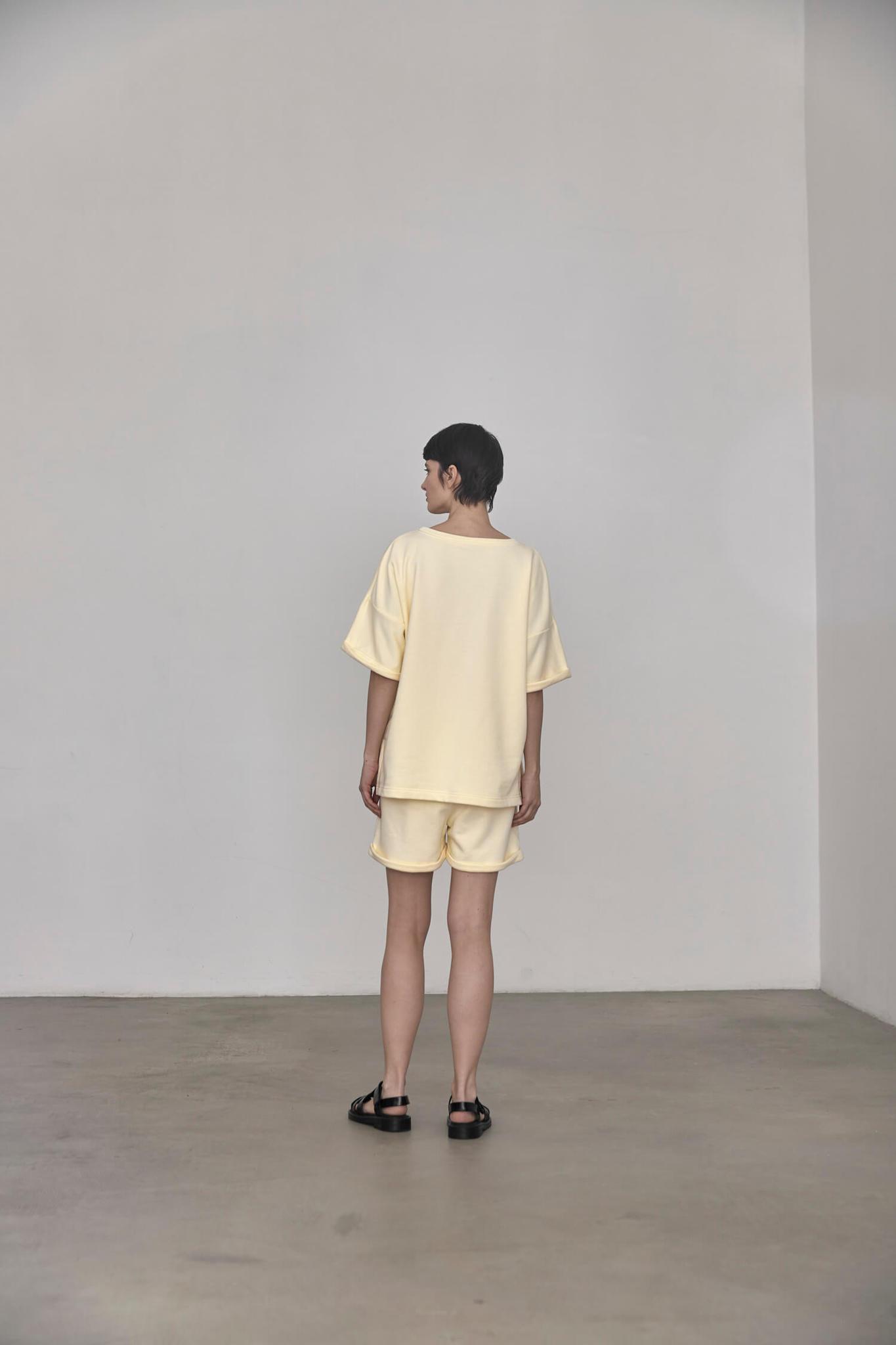 Свитшот-футболка из футера, ванильный мусс