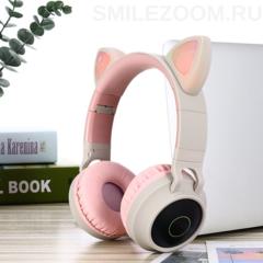 Наушники беспроводные Smilezoom с ушками / Серые с розовым