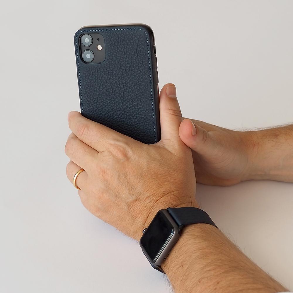 Чехол-накладка для iPhone 11 из натуральной кожи теленка, цвета синий мат