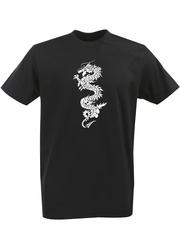 Футболка с однотонным принтом Дракон (Dragon) черная 003