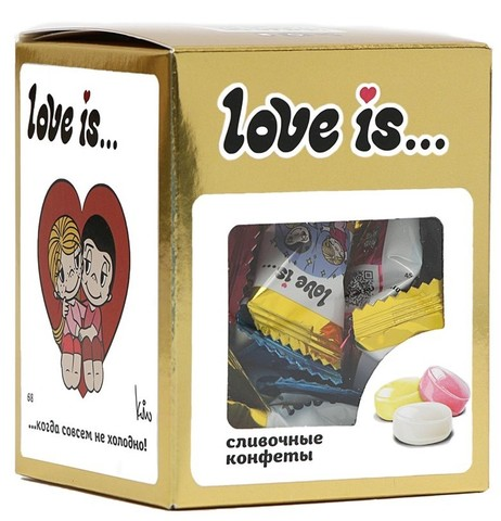 Конфеты Love is… жевательные Сливочные микс вкусов (золото) 105 г