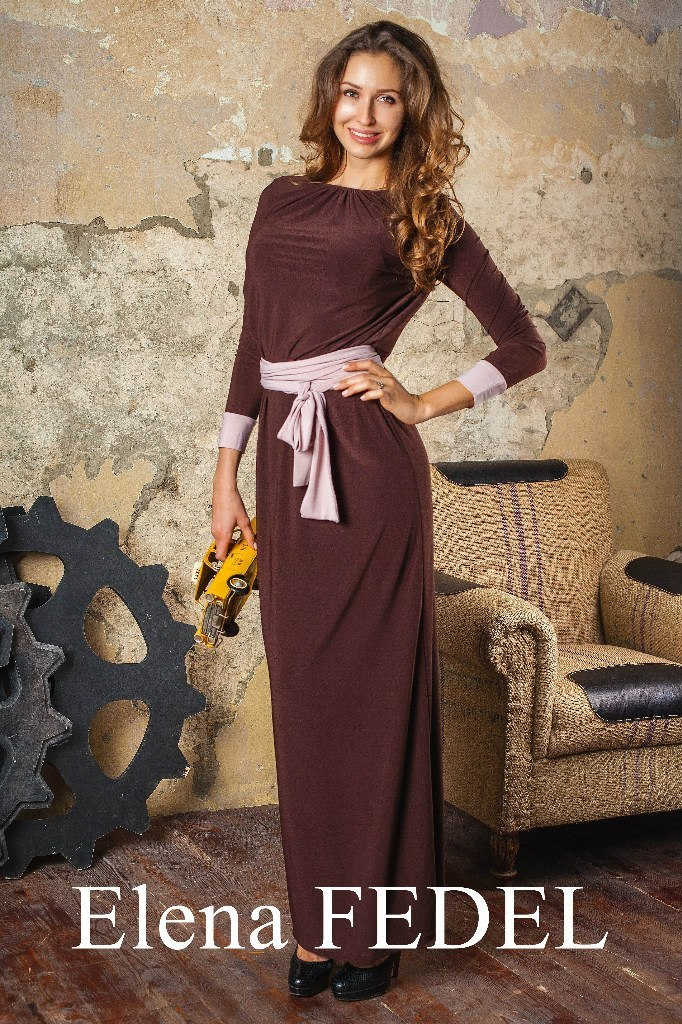 Платья Платье F77-02 длинное масло шоколад BPw5OQRENxE.jpg