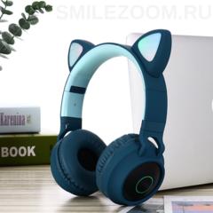 Наушники беспроводные Smilezoom с ушками / Зеленые