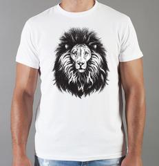 Футболка с принтом Лев (Lion) белая 0044