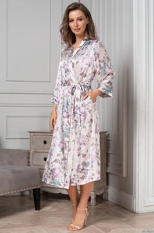 Длинный шелковый халат Mia Amore Миракли (70% нат.шелк)