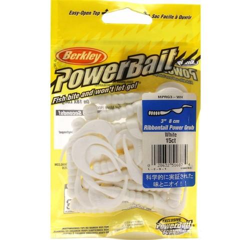 Приманка силиконовая Berkley Powerbait Ribbontail Grub MPRG3-WH White 3