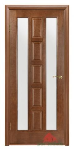 Дверь Квадро ПОО (каштан, остекленная шпонированная), фабрика Двери Белоруссии