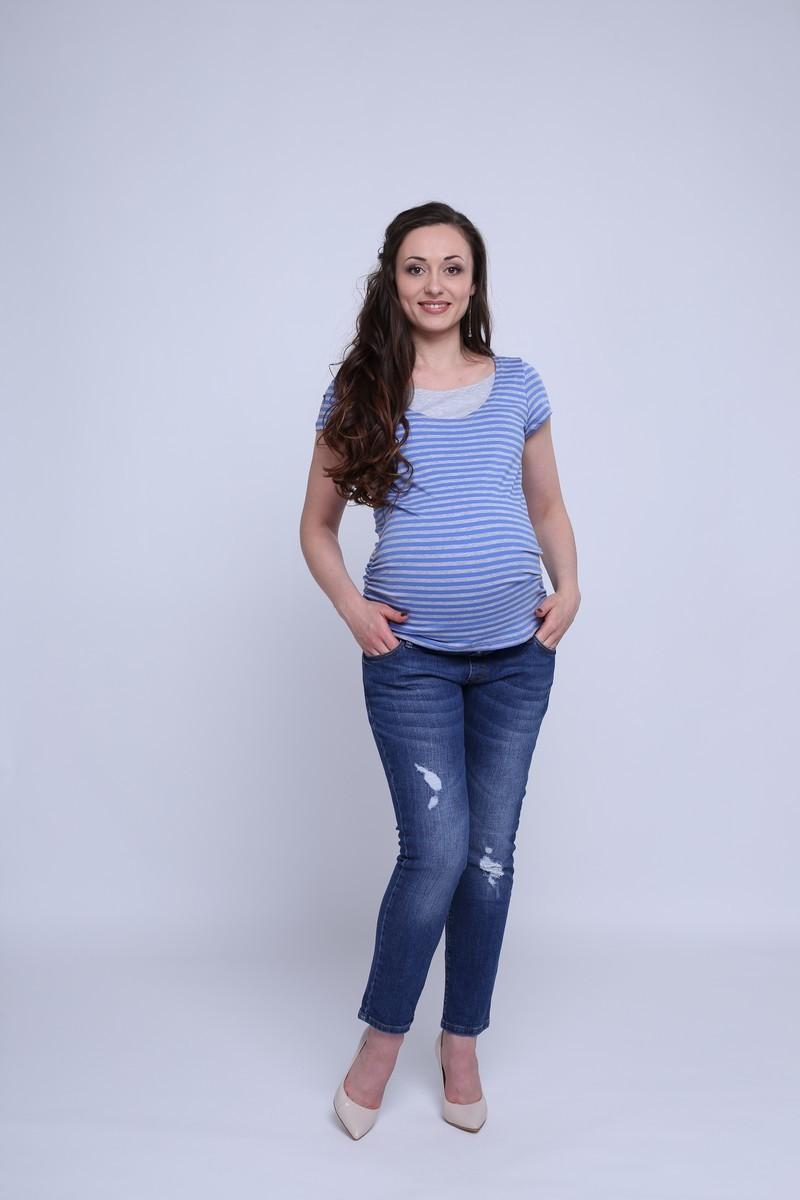 Футболка для беременных и кормящих 09615 серо-голубой
