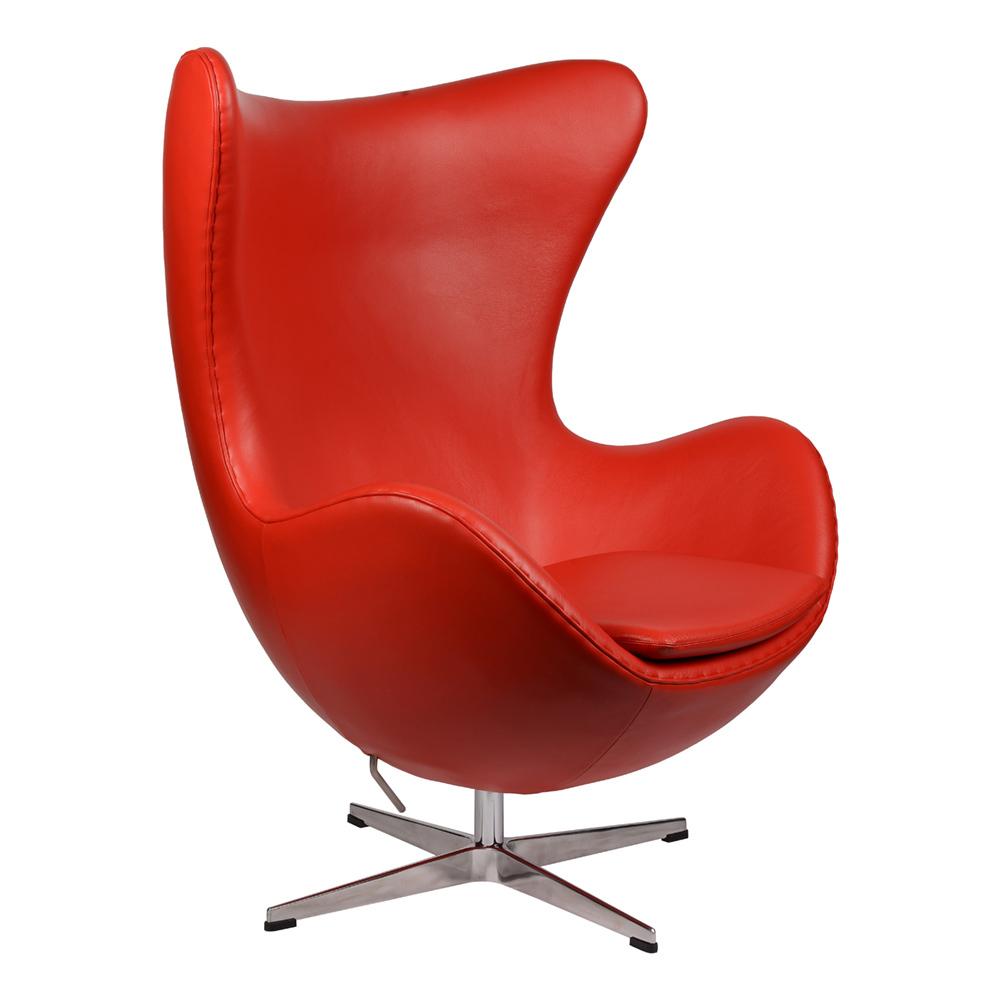 Интерьерное кресло Arne Jacobsen Style Egg Chair красная кожа premium - вид 1