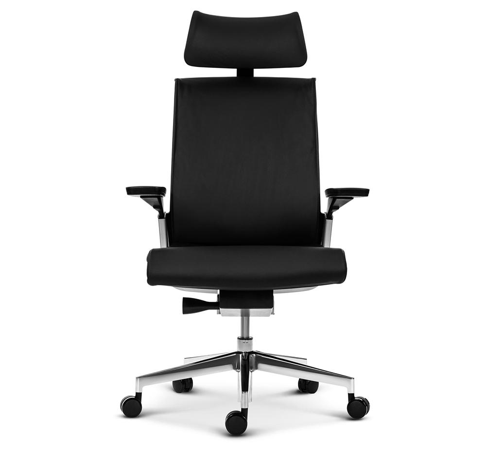 Эргономичное кресло руководителя Match черная кожа - вид 2