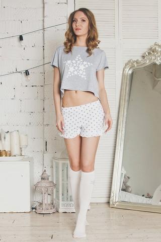 Короткая футболка + шортики Stars серый