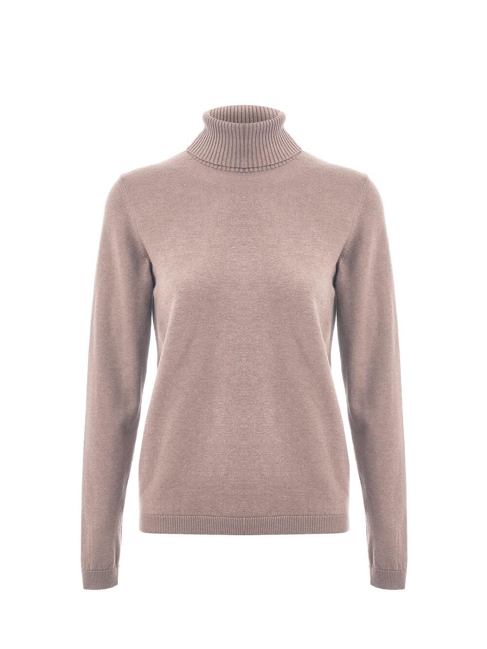 Женский свитер бежевого цвета из шерсти и шелка - фото 1