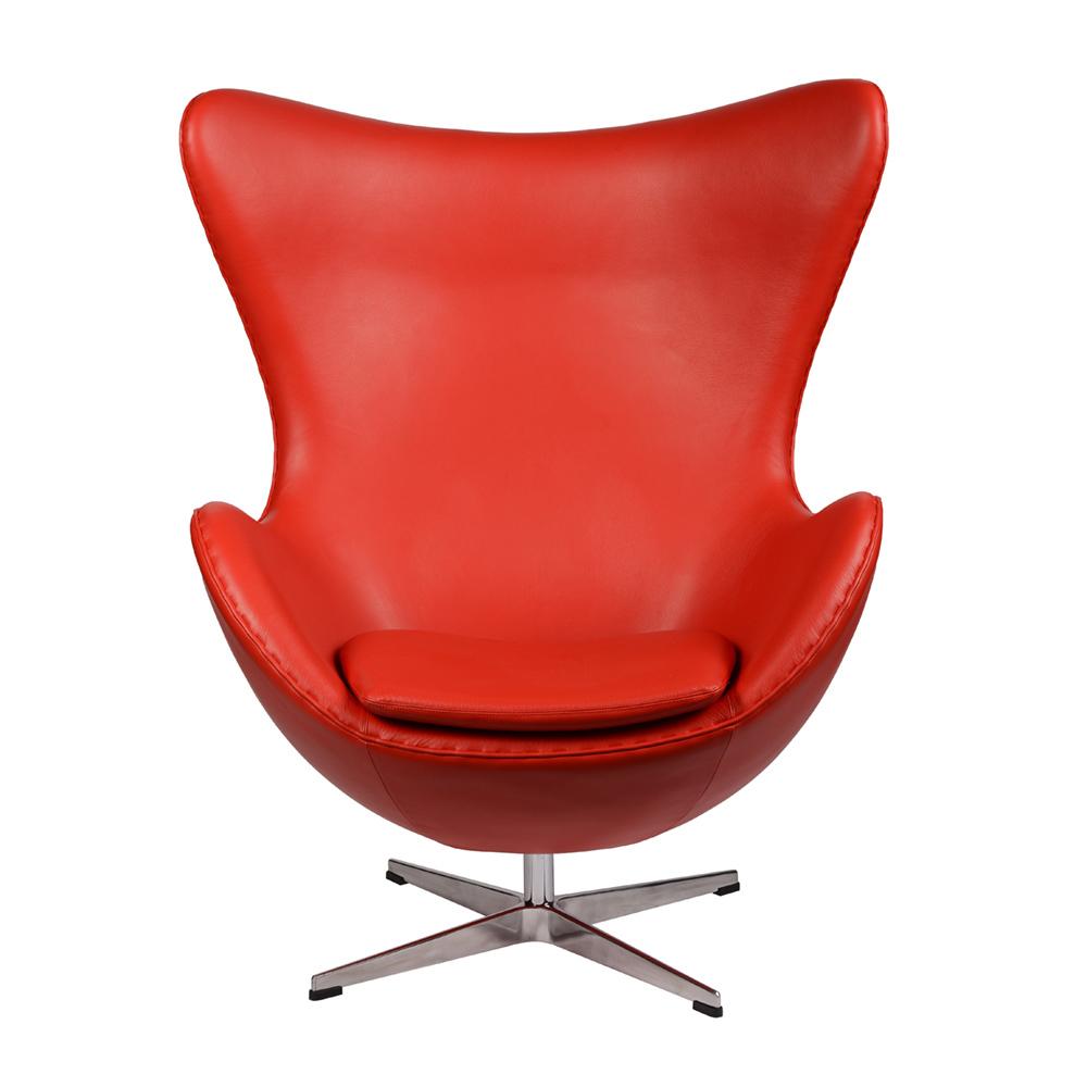 Интерьерное кресло Arne Jacobsen Style Egg Chair красная кожа premium - вид 2