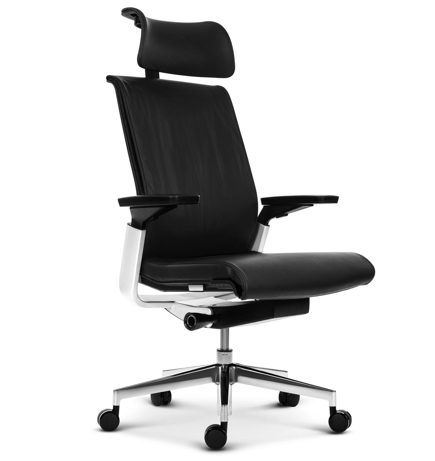 Эргономичное кресло руководителя Match черная кожа - вид 1
