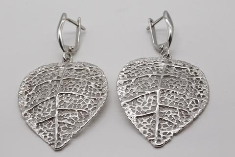 Серебряные серьги  без вставок Литва