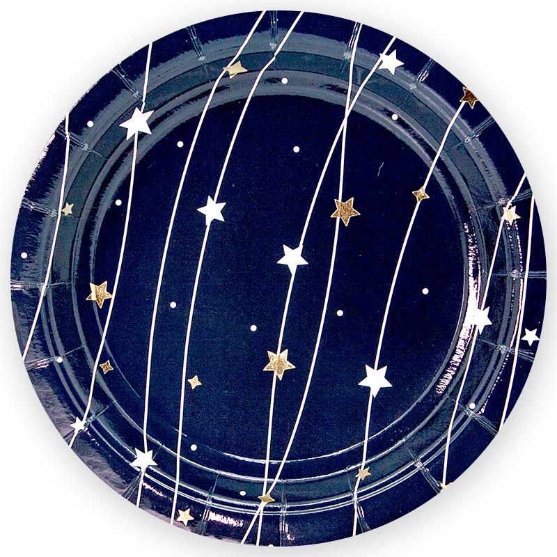 Тарелки 23 см., Звездная траектория, Черный, 6 шт.