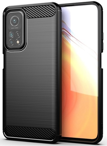 Чехол черный для Xiaomi Mi 10T и Mi 10T Pro, серии Carbon (карбон дизайн) от Caseport