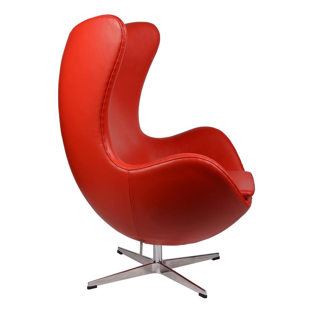 Интерьерное кресло Arne Jacobsen Style Egg Chair красная кожа premium - вид 3