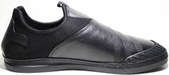 Черные слипоны мужские кожаные летние Pandew.
