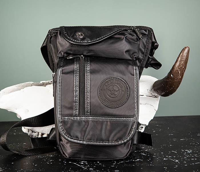 BAG506-1 Черная набедренная сумка из ткани «Оксфорд» фото 02