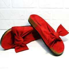 Летние шлепки босоножки без каблука женские Comer SAR-15 Red.