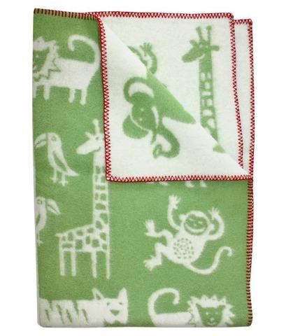 Одеяло, KLIPPAN, Джунгли, Эко-шерсть, Зеленый и белый, 90 х 130 см