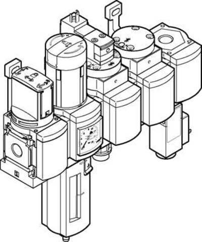 Блок подготовки воздуха, комбинация Festo MSB4-1/4:C3J1D1A1F3-WP