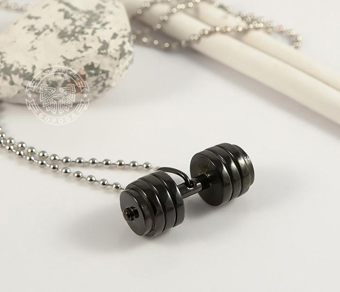 PM236-2 Мужская подвеска «Гантель» (штанга) черного цвета из ювелирной стали