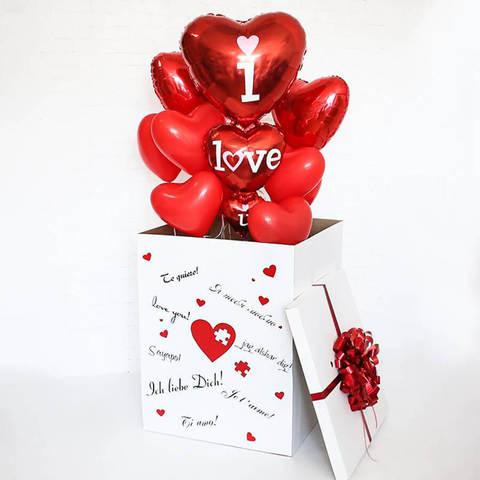 Коробка с шарами.  Большое сердце