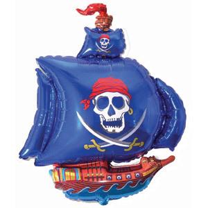 Фольгированный шар Пиратский корабль голубой 102см Х 78см