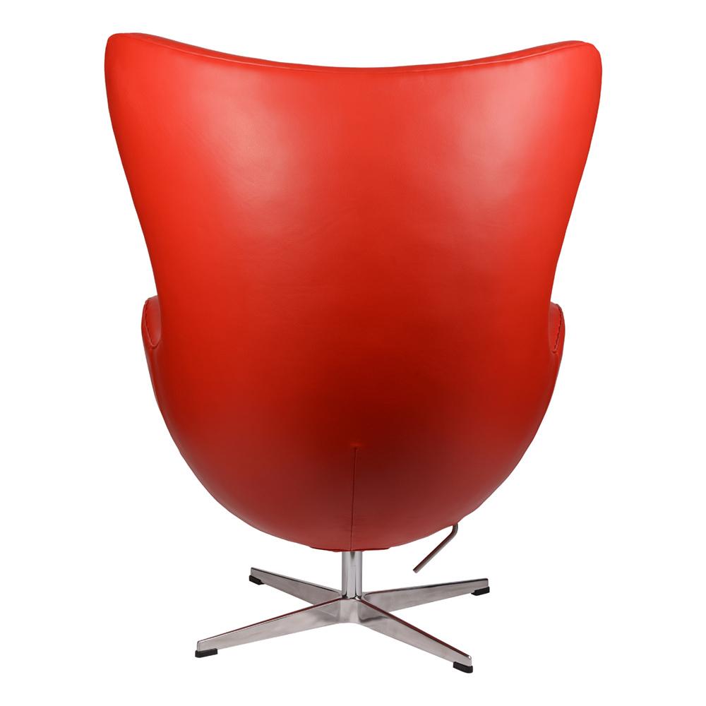 Интерьерное кресло Arne Jacobsen Style Egg Chair красная кожа premium - вид 4