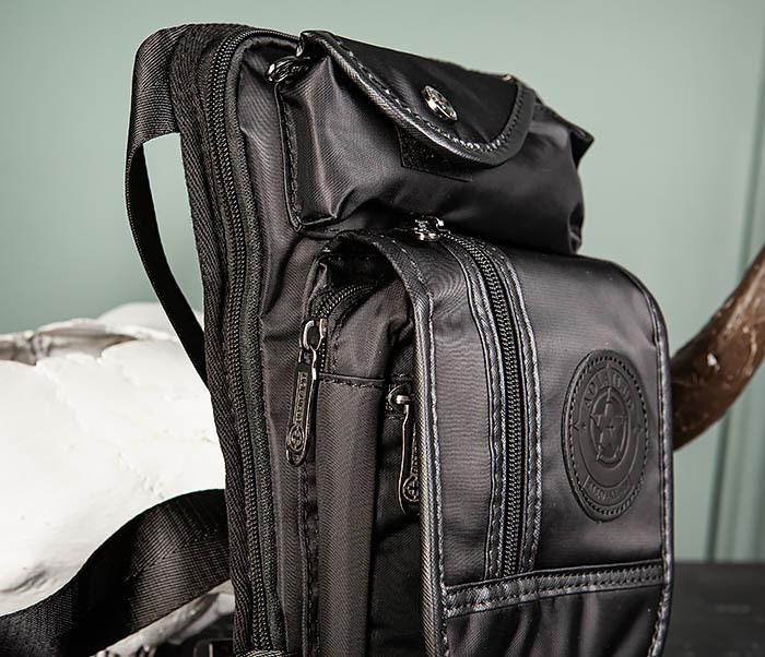 BAG506-1 Черная набедренная сумка из ткани «Оксфорд» фото 03