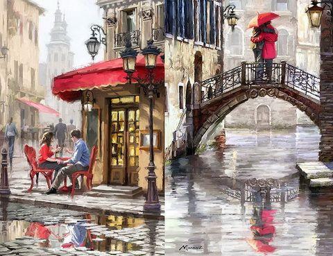 Алмазная Мозаика 40x50 Влюбленные на мосту и в кафе (арт. 2PAV741)
