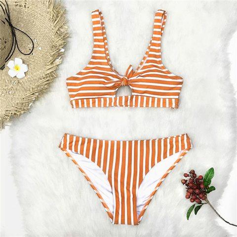 купальник раздельный оранжевый в полоску топ с узлом 3