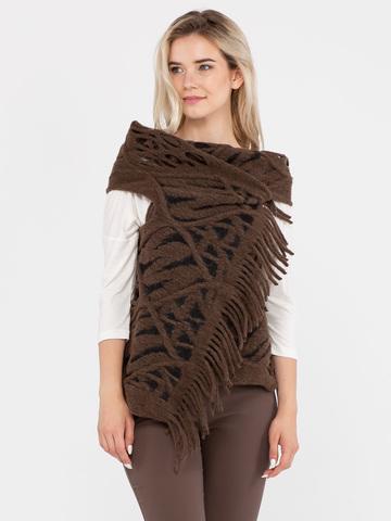 Фото коричневый жилет из фактурной ткани, имитирующей крупную вязку с отверстиями для рук - Жилет С044-622 (1)