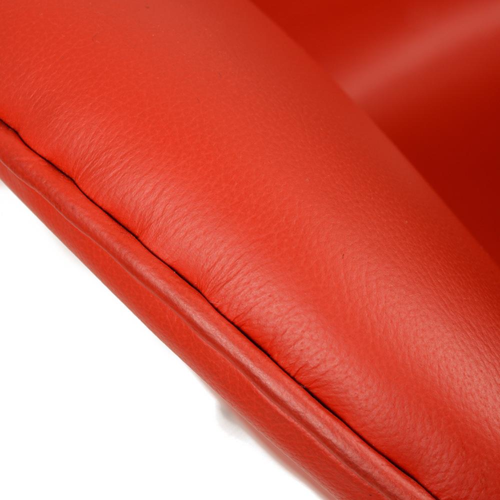 Интерьерное кресло Arne Jacobsen Style Egg Chair красная кожа premium - вид 5