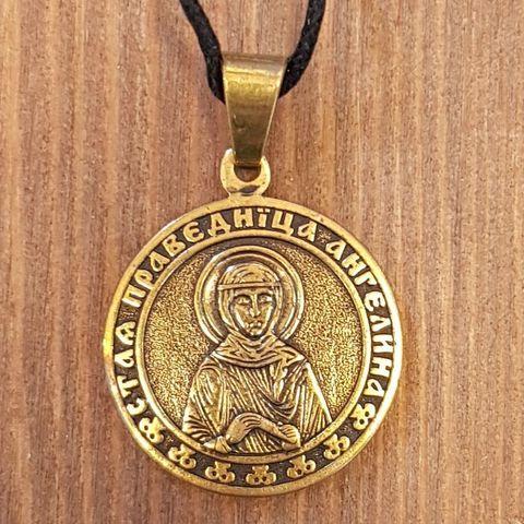 святая Ангелина именная нательная икона из бронзы кулон с молитвой
