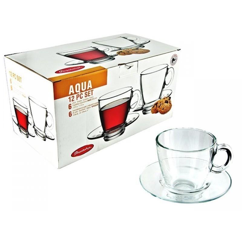 Pasabahce Aqua Чашка с блюдцем, 6х225 мл