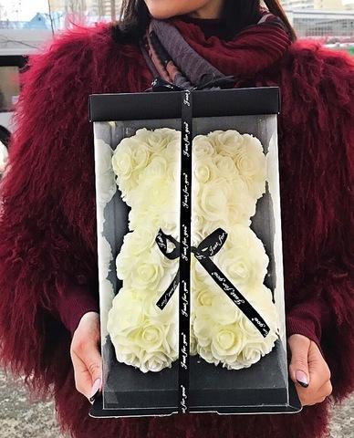 Мишка из роз 25 см в подарочной коробке #1526