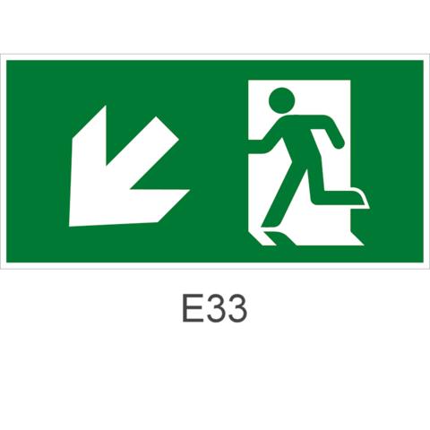 Направление эвакуации налево вниз - знак эвакуационный Е33